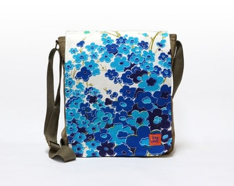 Lilly - Canvas Messenger Bag, crossbody bag, blue floral shoulder bag upcycled with original vintage fabric by EllaOsix