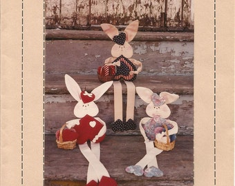 Hares A Heart, Goodies from Grandma, Craft Pattern, Bunny Rabbits, Vintage 1991, Country Decor, Sewing Pattern, Uncut, Home Decor, Bunnies