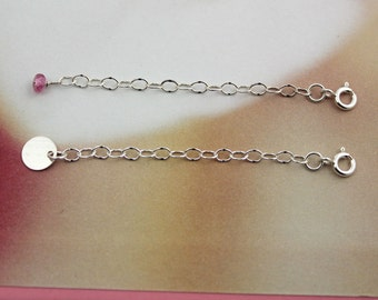 "2 to 4"" chain extender with your choice of tourmaline bead or single initial personalization disk - 2 dollar shipping"