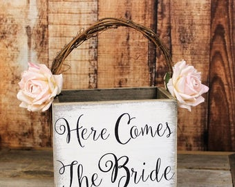 Wooden Flower Girl Basket, Here Comes The Bride Wedding Decor, Rustic Wedding, Shabby Chic Wedding Basket, White-Barn-Paper Flowers