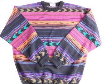 Vintage Aztec Sweater, Vintage Meister Pullover Sweater, Mens XL, FREE SHIPPING