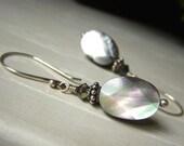 Black Lip Shell Earrings Sterling Silver, Charcoal Gray Shell Earrings, Iridescent Shell Earrings, Oval Mother of Pearl Earrings