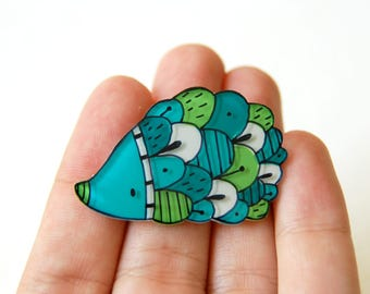 Green teal hedgehog brooch, woodland illustrated jewelry, animal brooch
