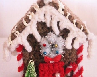 Gingerbread House Decoration Ornament Christmas Decoration Ornament Hand Crochet Home Decor for the Holidays by craftylittlekitten