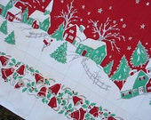 1950s Christmas tablecloth, Mid Century - for holiday use or cutter stocking fabric