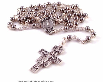 Stainless Steel Miraculous Medal Rosary Beads or Chaplet w San Damiano Crucifix by Unbreakable Rosaries