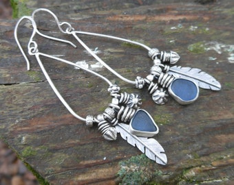Cornflower Blue Sea Glass and Feather Charm Earrings