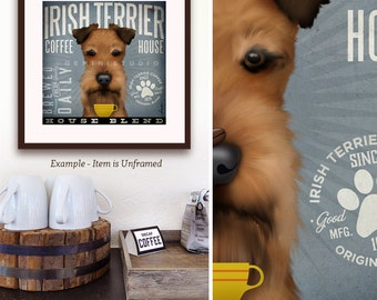 Irish Terrier dog Coffee Company graphic art giclee signed artists print by Stephen Fowler