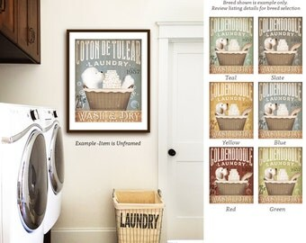 Coton de Tulear dog laundry basket laundry room art vintage style artwork by Stephen Fowler Giclee Signed Print