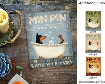 Min Pin miniature pinscher minpin dog bath soap Company artwork on gallery wrapped canvas by Stephen Fowler