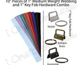 25 - 10 Inch Pieces of Medium Heavy Weight Cotton Webbing and 25 Key Fob Hardware Combo - 1 Inch - Plus Instructions - SEE COUPON
