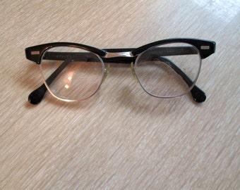 Vintage American Optical eyeglasses Browline 46 22 Black and metal AO Eyeglasses 50s Vintage USA frames Browline Scientist Classic