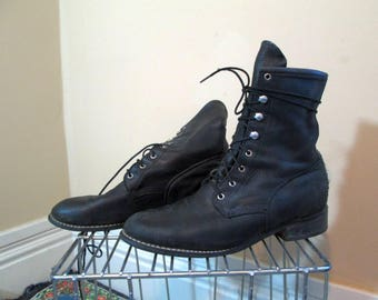Black Roper boots Vintage Acme Boots Prairie leather Boots for cowgirls lace up boots Black granny lace up Cowboy Boots 7.5
