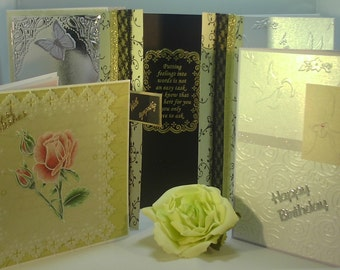 Pack of Five Hand Crafted Greeting Cards - Sympathy, Birthday