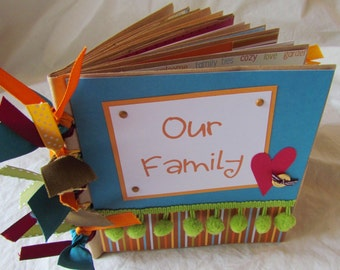 Mini Scrapbook Album - premade 6x6 PaPeR BaG book -- OUR FAMILY -- Celebrate the blessing of your family in this sweet, happy album!