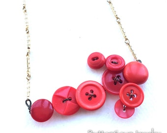 Red Arrow Vintage Button Statement Necklace OOAK and Unique