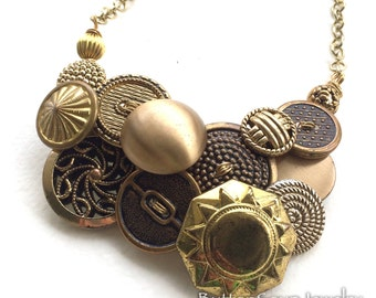 TickTock Metal Button and Bead Necklace