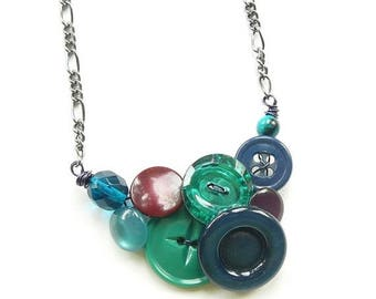 Mothers Day Sale Small Jewel Tones Button Necklace in cool colors with emerald green