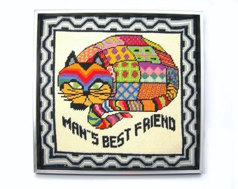 Needlepoint Cat Wall Hanging / Picture, Color Patchwork Design, Man's Best Friend, Black Wood Frame Silver Trim, 16x15x2, Dated on Back 1973