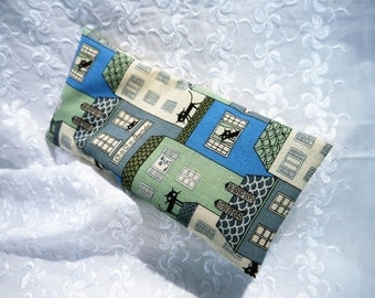 Eye Pillow - Heat Pack with Removable Cover -  Black Cat Cotton fabric - Handmade