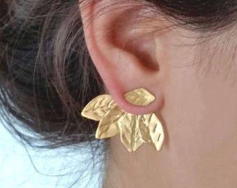 Ear Jackets Gold, Two in One Ear Jackets, Leaf Ear Climbers, Gold Stud Earrings