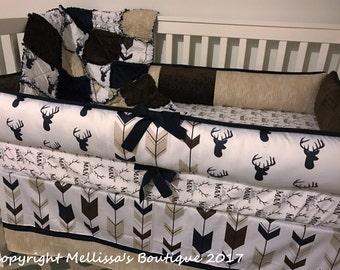 Custom Rustic Deer Fletching Arrows Little Man & Wood Grain Navy Brown and Tan Baby Nursery Bedding Set MADE To ORDER