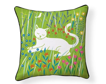 NEW! Flora & Feline Indoor/ Outdoor Pillow