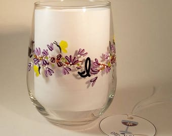 Hand Painted Mother's Day Stemless Wine Glass With Floral Vine