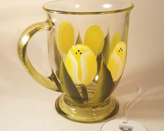 Yellow Tulip Hand Painted Glass Coffee Cup