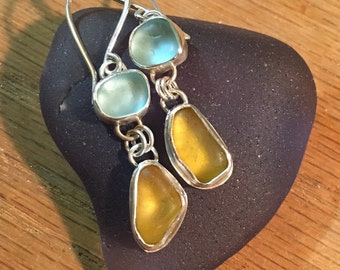 Honey Yellow and Sky Blue Sea Glass Dangle Earrings