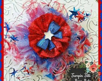 Patriotic Cutie 4th of July Glamour Bloom Hair Flower clip headband