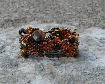 Jewelry - Free Form Peyote Stitch Beaded Bracelet  - Bead Weaving - Guardian -  Tiger Eyer - BOHO
