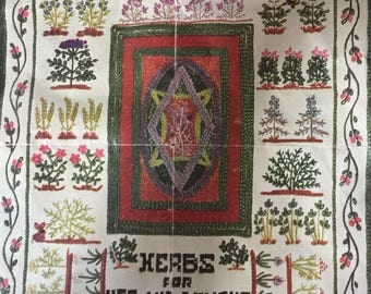 60's American Home Magazine Paragon Needlecraft Kit * Herbs for Use & Delight * Vintage Crewel Embroidery Sampler *  # 01046 * Limited /Rare
