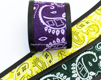 Bandana & Black Leather Wrist Band - Color Choice (JWL131)