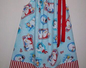 Christmas Dress Pillowcase Dress Frosty the Snowman Holiday Dresses Girls Dresses Christmas Outfit Christmas Dresses for Christmas