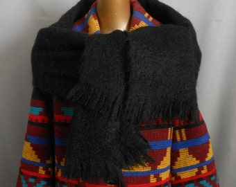 33% OFF SALE Vintage 70s Fringed Black Mohair Scarf, 1970s Fluffy and Furry Shawl, Made in Scotland, 72 Inches Long