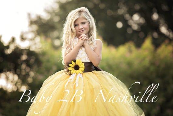 Yellow Sunflower Dress Yellow Dress Lace Dress Tulle dress Wedding Dress Birthday Dress Toddler Tutu  Dress  Sunflower Girls Dress