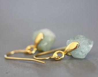 Nugget Earrings, Raw Aquamarine Rough Cut Gold Earrings Minimalist Small Earrings Aquamarine Earrings