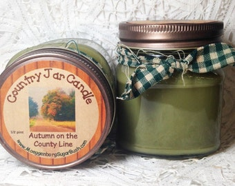 Mason jar candle, autumn on the county line, fresh fall leaves, maple scent, country road, half pint, Moeggenborg Sugar Bush
