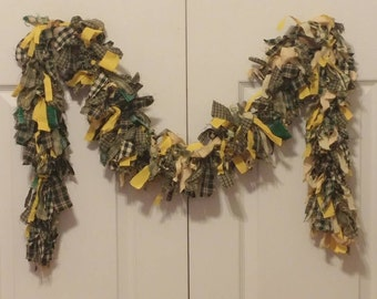 Rag Swag Garland Homespun Primitive Yellow and Green 65 inches Ready to Ship