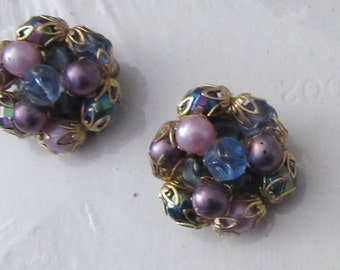 clip on earrings solid purple or purple and blues