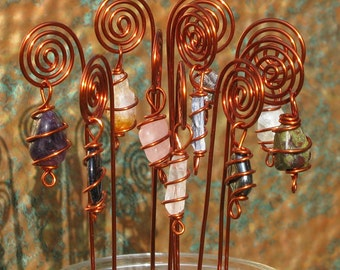 Spiral Table Number, Photo or Card Holders, Plant Picks, Set of 10 in Copper with Wire Wrapped Gemstones