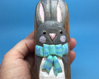 Primitive Carved Easter Bunny- Carved Nautical Antique Fishing Net Float