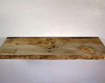 "Deep wall shelf recycled barnwood 30"" long,11"" deep and 8"" tall with brackets"