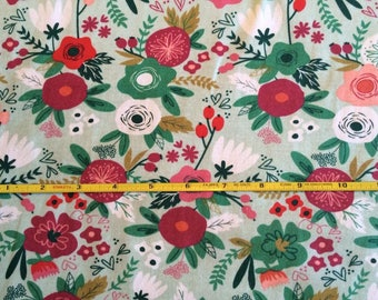 NEW Riley Blake Trend Floral on Mint cotton Lycra  knit fabric 1 yard
