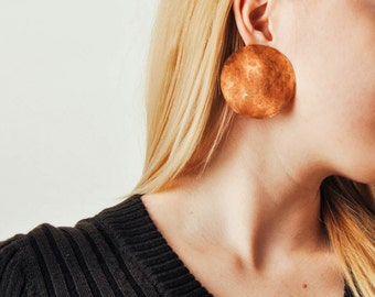 Vintage Oversized Copper Circle Earrings