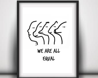 Vegan Art, Equality, Vegan, Vegan Print, Downloadable Print, Instant Download, Vegan Home Decor, Animal Lover Art, Digital Print