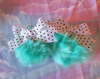 Pom pom earrings, lavender purple faux fur pink lavender polka dot bow 90s fairy kei jewelry gifts under 20