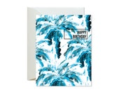 HAPPY BIRTHDAY Teal Blue Palm Tree Collage Greeting Card / Handpainted - Single Card
