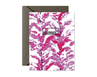 CELEBRATE Burgundy Lavender Lilac Floral Greeting Card / Birthday / Graduation /New Home / New Job - Single Card